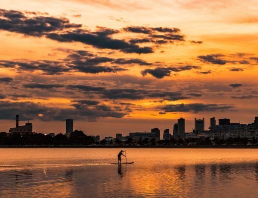 The Boston skyline. Sustainable modern design is growing more popular in a town that supports sustainable living.