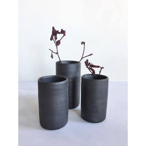 Reduced, black ceramic vases