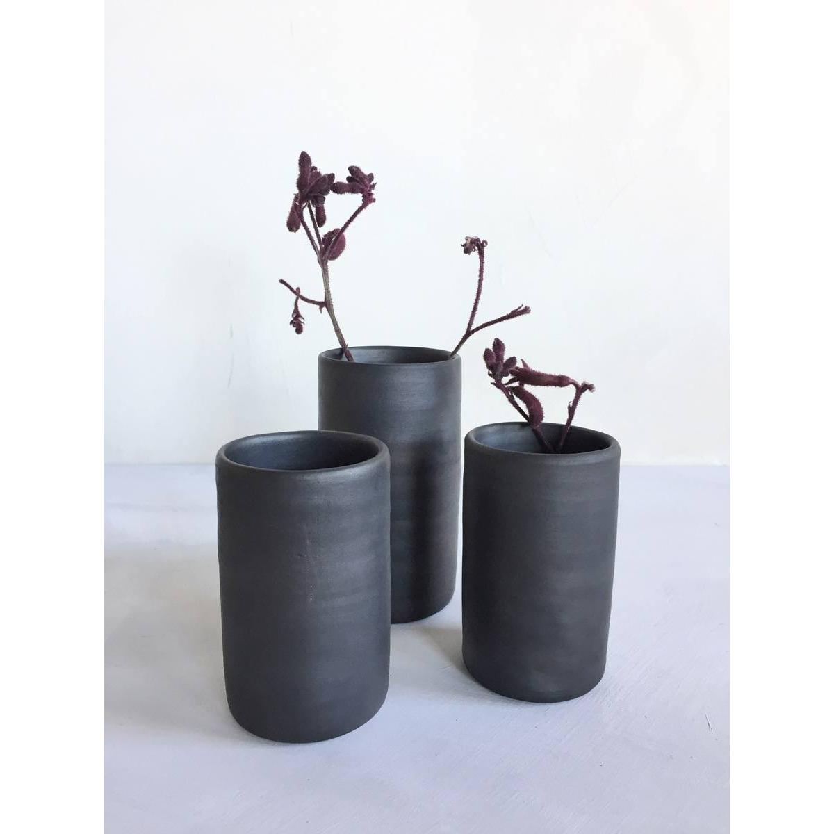 Reduced, black ceramic vases