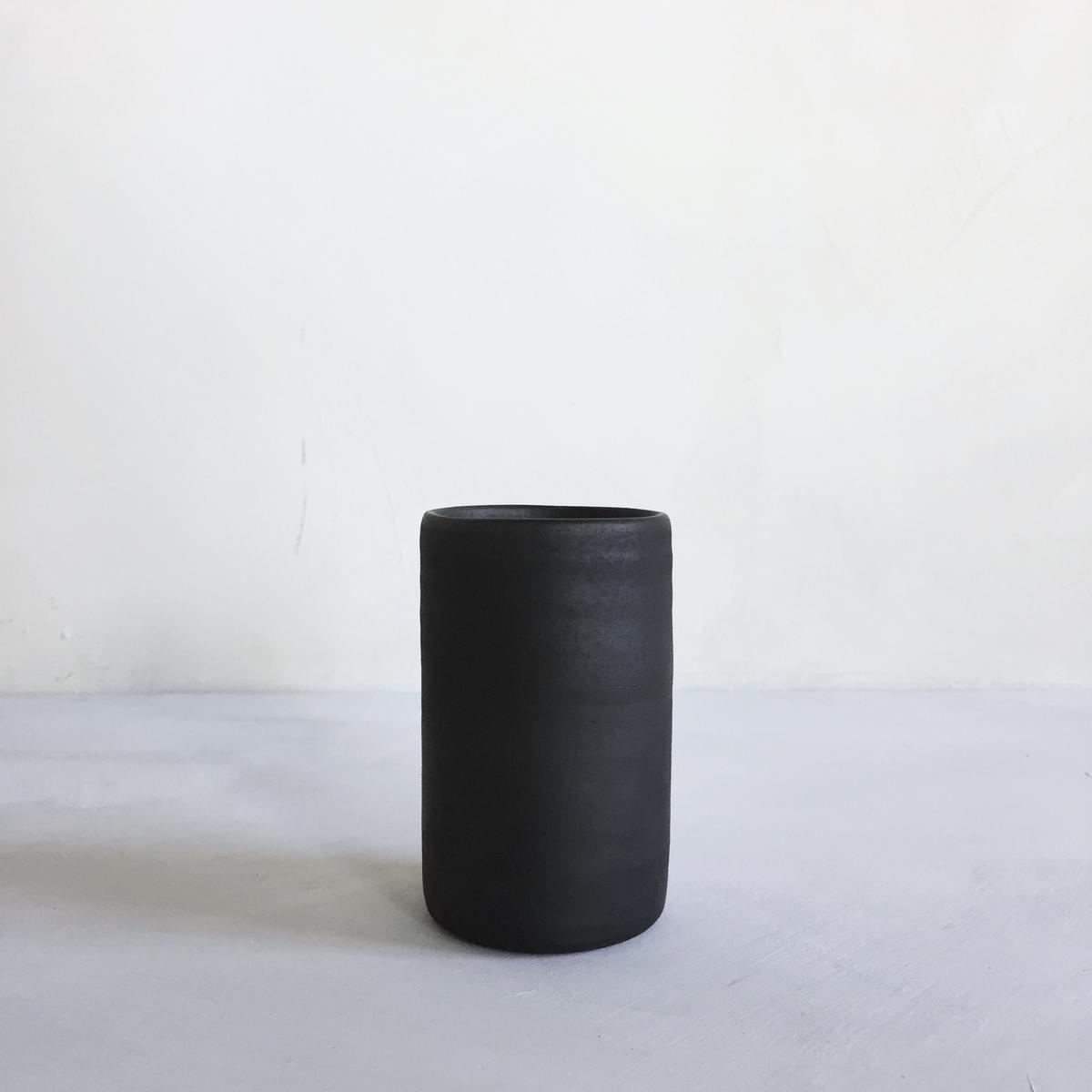 Reduced, black ceramic vase S