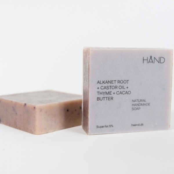 Organic Soap Bar with Alkanet Root + Castor Oil + Thyme + Cacao Butter by HÅND.
