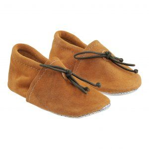 Camel Vegetable Tanned Leather Baby Moccasins