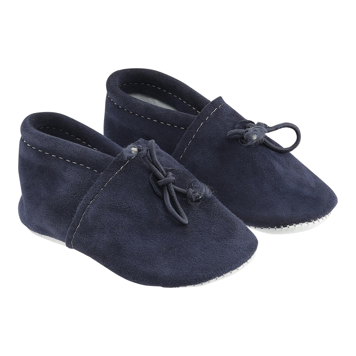 Blue Vegetable Tanned Leather Baby Moccasins