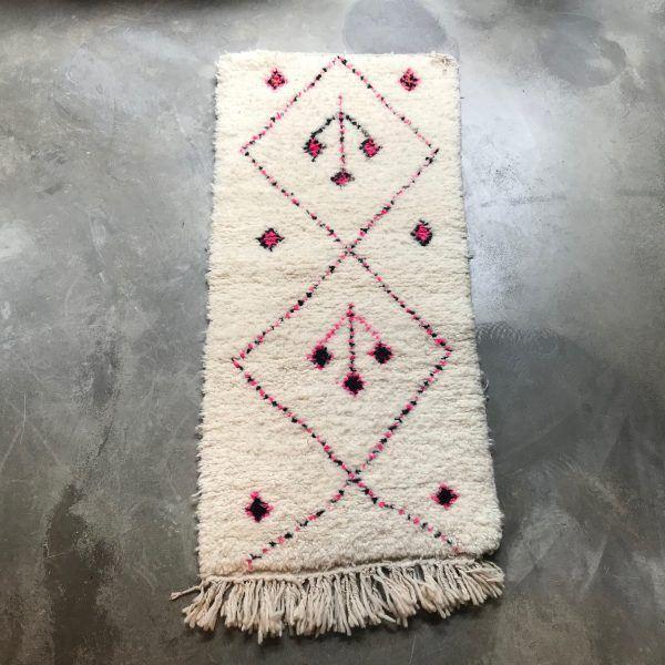 65x140 Pink Black Vintage Berber Rug